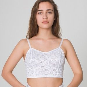American Apparel White Lace Ribbon Bustier